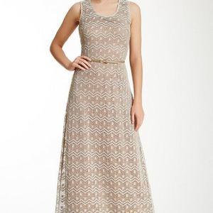 Sharagano belted crochet dress NWT